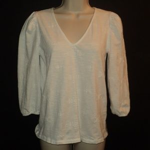 Lucky Brand Size XS Top White 3/4 Sleeves V Neck